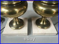 Pair Of Vintage Hollywood Regency Brass Torch Flame Stiffel Table Lamps Marble