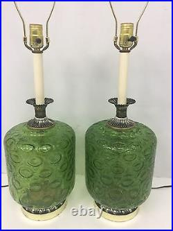 Pair Of Vintage Mid Century Green Crackle Glass 3 Way Table Lamps