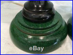 Pair Of Vintage Painted Malachite Effect Table Lamps