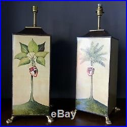 Pair Porta Romana Hand Painted Table Lamps /side Lamps