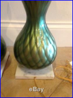 Pair Quilted Iridescent Pearl Green Italian Murano Glass Table Lamps