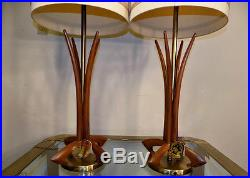 Pair Rembrandt retro table lamps with TAGS! Mid century modern atomic vintage
