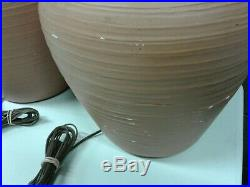 Pair S&M IND Vintage 1975 Red Clay Chalkware Table Lamps Jar Urn Vase Pottery So