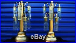 Pair Sciolari Style 8 Arms Waterfall Cascading Glass Rods Table Lamp (Vintage)