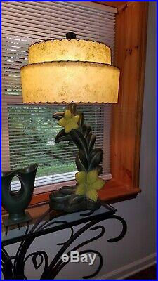 Pair Spectacular BIG EXOTIC 1953 Continental Art Plaster Lamps w 2-tiered Shades
