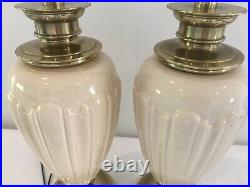 Pair Stiffel Brass And Lenox Porcelain Lamps With Silk Shades