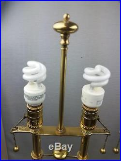 Pair Stiffel Brass French Bouillotte Table Lamps Double Socket 2 Arm Classical
