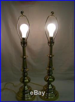 Pair Stiffel Table Lamps with Stiffel Shades Quality Brass #6047