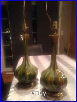 Pair Table Lamps MID Century Modern MCM Drip Pottery Glaze Green Caramel Brown