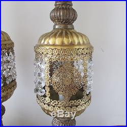 Pair VTG Brass & Marble Hollywood Regency Table Mantle Lamps with Crystal Lustres