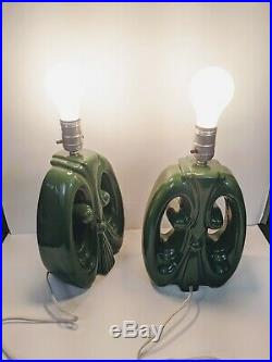 Pair VTG MCM Art Deco Green Ceramic Table Lamps, Rewired, Works! Damaged wire