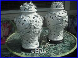 Pair Very Rare Vintage Pierced High Relief Rose Porcelain Ginger Jar Table Lamps