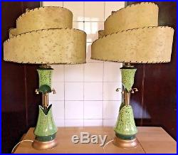 Pair Vintage 1950s MCM Lime Chartreuse Gold Beehive Fiberglass Shades Lamps
