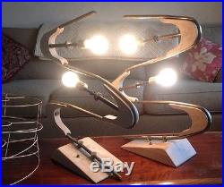 Pair Vintage 50s Majestic Z Boomerang Lamp 3 Shades Retro MCM Restore As Is