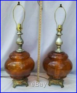 Pair Vintage Amber Glass Table Lamps Mid-Century with Night Light