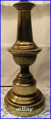 Pair Vintage Brass Table Lamps White Cloth Shades with Beads & Fringe 3 way Switch