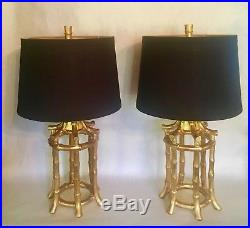 Pair Vintage Gilded Faux Bamboo Chinoiserie Hollywood Regency Lamps