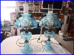 Pair Vintage Light Blue Moon And Stars Table Lamps