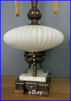 Pair Vintage Mid Century Table Lamps Hollywood Regency Italian 50s Saucer White