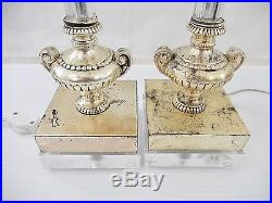 Pair Vintage Silvered Metal & Glass Column Lamps on Lucite Bases
