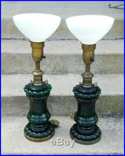 Pair Vintage Table Lamps Green Art Glass Brass Mid Century Hollywood Regency 60