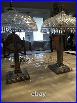 Pair Vintage Waterford Crystal Beaumont 23 Table Lamps