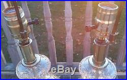 Pair Vintage Waterford Cut Crystal Glass Brass Table Lamps Criss Cross Dot
