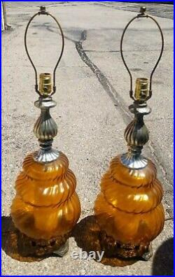 Pair Vtg EF&EF Amber Tinted Glass Table Lamps Mid-Century with Night Light 1973