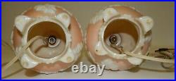 Pair Vtg Pink & White Oak Leaf Aladdin Alacite Table Lamps with Night Light Bases