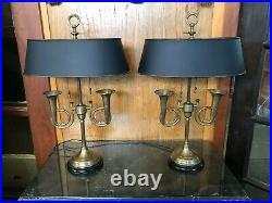 Pair of 1950s Brass French Horn Bouillotte Table Lamps