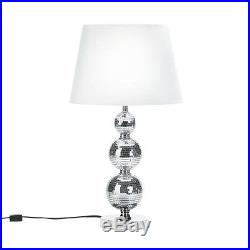 Pair of (2) Glitzy Mirrored TABLE LAMP DORM BABY BEDROOM FABRIC SHADE GIFT SALE