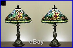 Pair of 2 JT Tiffany Red Flower Stained Glass Bedside Side Table Lamp