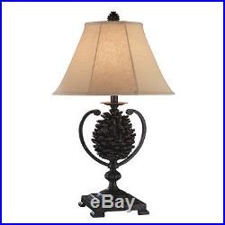 Pair of 2 Pine Cone Table Lamps Cabin Mountains Lodge Decor Christmas Forest