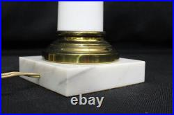 Pair of 2 Vintage Hollywood Regency WHITE OPALINE Glass & Brass 32 Table Lamps