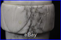 Pair of 2 Vintage Neoclassical Hand Carved Italian Alabaster Marble Urn Lamps