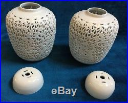 Pair of Antique Blanc de Chine Lidded Ginger Jar Lamps 1920s-30s RARE Marked
