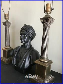 Pair of Antique Brass Neoclassical Column Table Lamps 34
