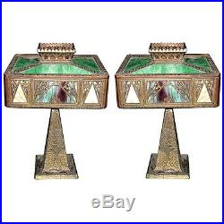 Pair of Antique Cast Bronze & Iron Table Lamps with Stained Glass Shades #5916
