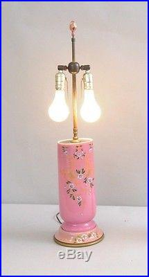 Pair of Antique French Pink Porcelain Floral Hand Painted Table Lamps Old Paris