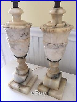 Pair of Antique Urn Shape Carved Marble Alabaster Table Lamps