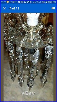 Pair of Art Deco Crystal Candelabra Table Lamps with Large Feather Plumes