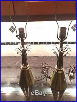 Pair of Atomic Space Age Sputnik Glass and Brass Table Lamps Lights