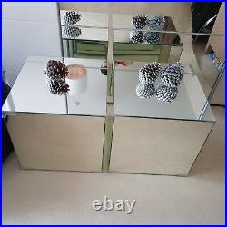 Pair of Bedside Tables Square Nightstand 2 Stand Lamp Furniture with Storage Set