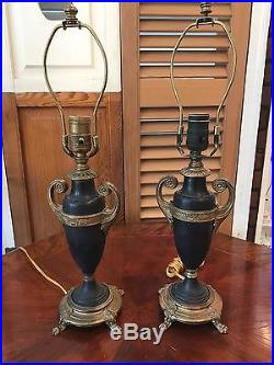 Pair of Black and Bronze Handled Urn Table Lamps