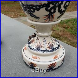 Pair of Blue & Red Asian Porcelain Table Lamps with Woman & Bird Design 28