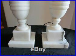 Pair of Carved Alabaster or Marble Neoclassical Table Lamps