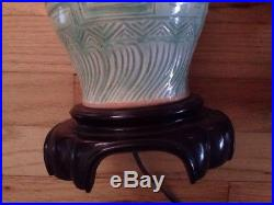 Pair of Chinese Mid Century Celadon Glazed Porcelain Lamps Asian green mint