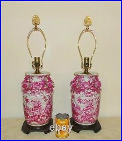 Pair of Chinoiserie Table Lamps Asian Oriental Chinese Mid Century Modern