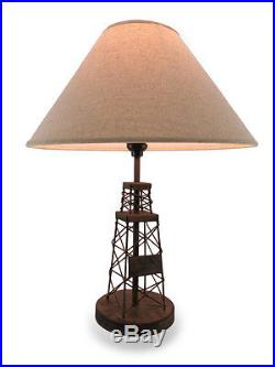 Pair of Distressed Metal Oil Derrick Table Lamps with Fabric Shade