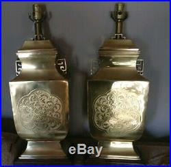 Pair of Frederick Cooper Solid Brass Table Lamps with original tag